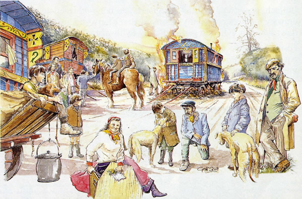 Drawing of an imagined gypsy encampment