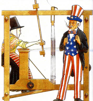 Image of a lady in Welsh costumer weaving, with Uncle Sam (USA icon) watching her.