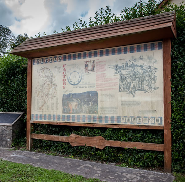 Photograph of the Felindre information board. Text is on this page to read.