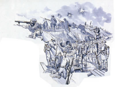 Drawing of soliders fighting in the trenches during world war one.