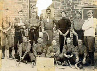 Image of an early Bargod Rangers team - playing hockey